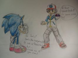 Sonic and Ash Ketchum by shadowhatesomochao