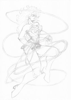Wonder Woman in the air -layout- by renatomirre