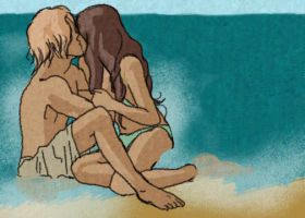 seaside - finnick and annie by finnodair