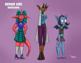 Demon Girl High school by SteveMillersArt