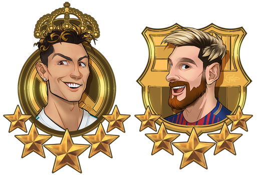 Commission: Christiano and Messi by GalooGameLady
