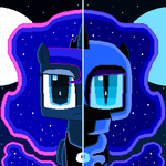 Nightmare Moon and Princess Luna (pixel art) by SuperHyperSonic2000
