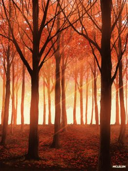 Red Autumn Forest by mclelun