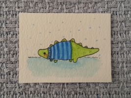 Original watercolour painting-dinosaur in jumper by Knuckers-Hollow