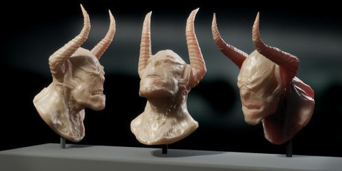 Demon head sculpture by Sasin
