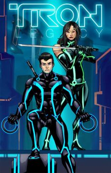 Commish : Lovers in Tron by wansworld