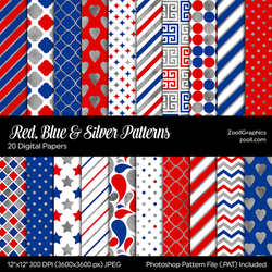 Red, Blue And Silver Digital Papers by MysticEmma
