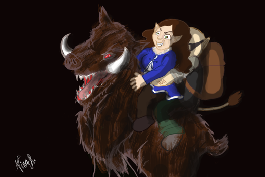 Riding with Wild Boar by IcyBunny
