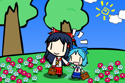 [Walfas]Cirno and Reimu by tsunetake1012