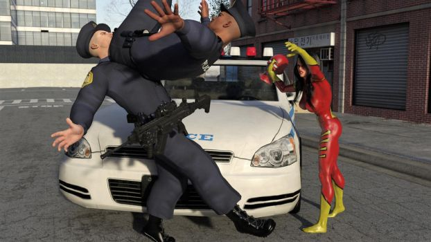 Spider-Woman vs Two Cops 18 by DahriAlGhul