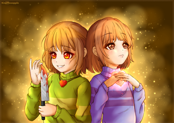 Frisk / Chara (Undertale) by KindPineapple