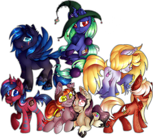 MLP: Commission: Jaegerpony Crew (x5) by Mychelle