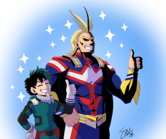 Boku no Hero Academia - smol and tol mights by TC-96