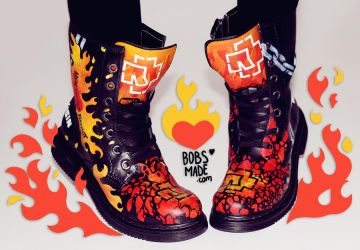 Rammstein - Custom Painted Boots by Bobsmade