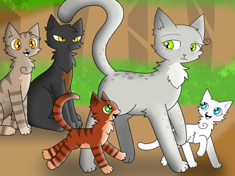Ferncloud and her kits by mihopony