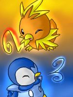 Torchic and Piplup by Kureculari