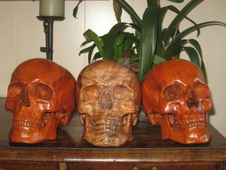 Three Skulls by WaterwalkerWoodworks