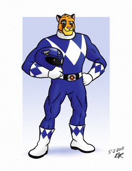 Jake Runner, Blue Power Ranger by RetroUniverseArt