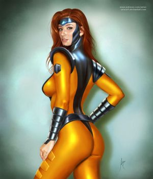 Jean Grey in Gold Team Suit by arion69