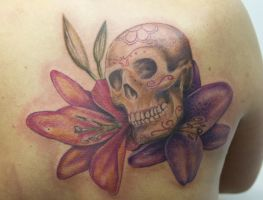 skull with flowers by graynd