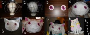Progress Photos of Kyubey Cosplay by Exile-wolfy