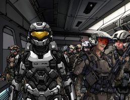 Halo Reach Trooper Squad B With Spartan Officer by cascarosan