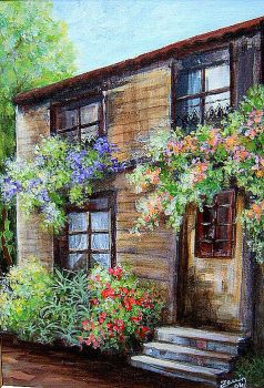 house with flowers by Hydrangeas
