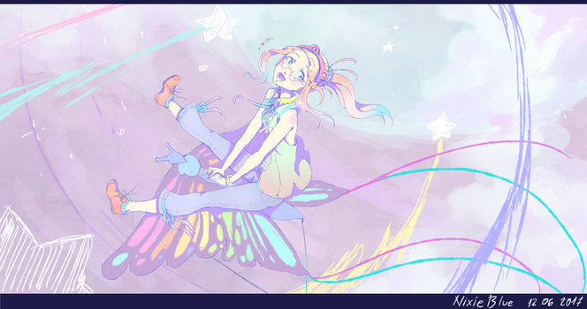 Pastelcolor Risa on butterfly shaped kite in space by BlueFly-shi