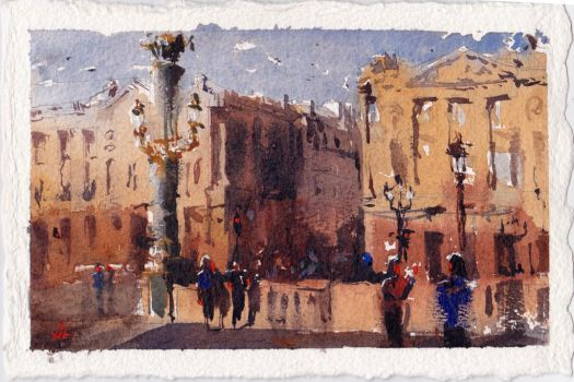 Watercolor of Venice, Italy by Alex Bodnar by Taurine75