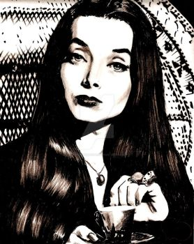 Morticia Adams by absinthiaverte