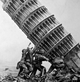 Raising of the Tower on Iwo Jima by Dead-Beat-Nick