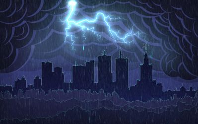 Warsaw Storm Skyline Wallpaper by IxoliteFH