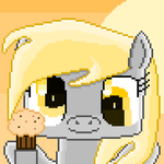 Derpy Hooves with Muffin (pixel art) by SuperHyperSonic2000