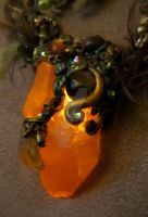 The Fire in the Earth Will O' Wisp Necklace by elvenelysium