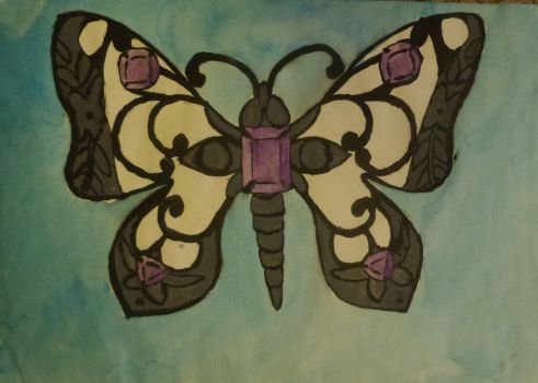Gemstone-Butterfly Watercolor Painting by Cookikeks