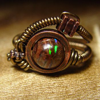 Steampunk ring Matrix Opal by CatherinetteRings