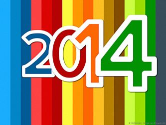 Happy New Year 2014 colorful background by rajasegar