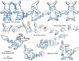 Pikachu Rough Model Sheet by Animator-who-Draws
