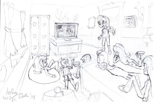 Mane 6+1 Movie Night (Sketch - WIP) by InfinityDash