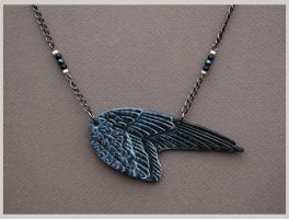 Peregrine Falcon Wing - Leather Pendant by windfalcon