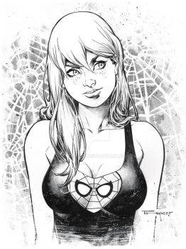 Mary Jane ink wash commission 2018 by aethibert