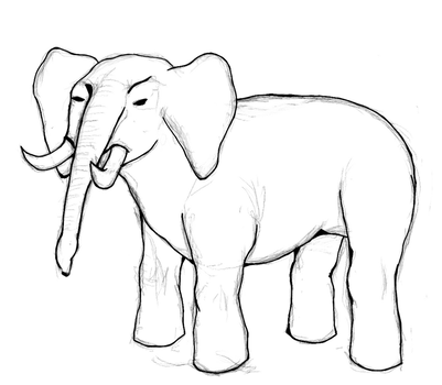 Elephant sketch by delusionalHamster
