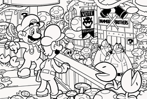 SMB the movie coloring book REMAKE 12-13 by FlintofMother3