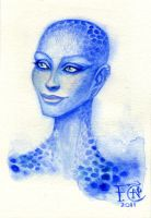 Sketch of Zhaan from Farscape by feliciacano