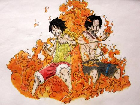 One Piece Luffy n Ace by notebook14