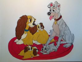 Lady and the Tramp family by Noiledluv