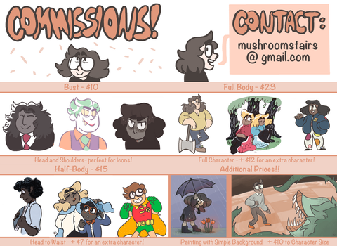 commissions! by mushroomstairs