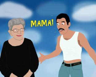 Freddie Mercury reunited with Mama Jer Bulsara by AndrewSS23