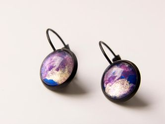 Earrings with hand painted glass, galaxy, space by OkeMani