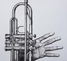 The hand of Miles Davis, dot art by rougealizarine